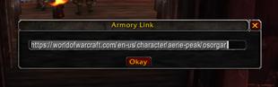 wow addon Armory Link Menu