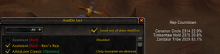 wow addon Assistant Red – Rev's Rep