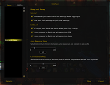 wow addon Busy and Away