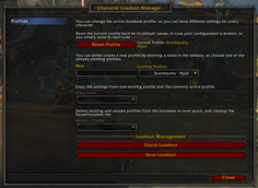wow addon Character Loadout Manager