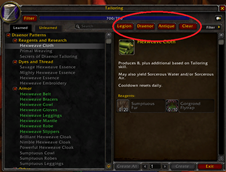 wow addon Crafting Filters