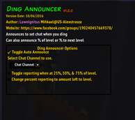 wow addon Ding-Announcer