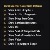 ElvUI Draenor Currencies DataText