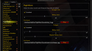 wow addon FlightWarn