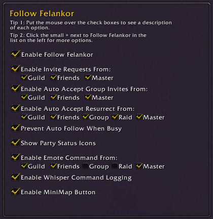 WoW Follow Felankor (Auto Follow and Dual/Multi Boxing AddOn