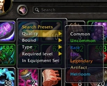 wow addon Inventorian: Search Presets