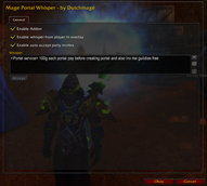 wow addon Mage Portal Whisper