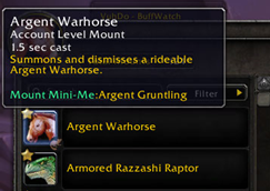 wow addon Mount Mini-Me
