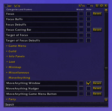 WoW MoveAnything addon bfa/classic 2019