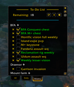 wow addon Ny's To-Do List