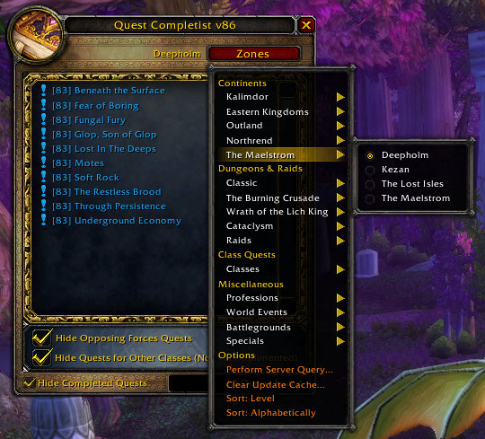 WoW Quest Completist Addon Bfa/classic 2019