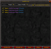 wow addon Sigma AddOn Manager (Classic)