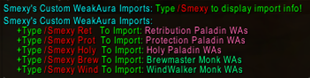 Smexy\'s Custom WeakAura Imports