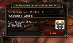 wow addon Sweetsour\'s Azerite Power Finder