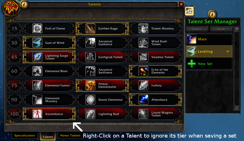 WoW Talent Set Manager addon bfa 2019
